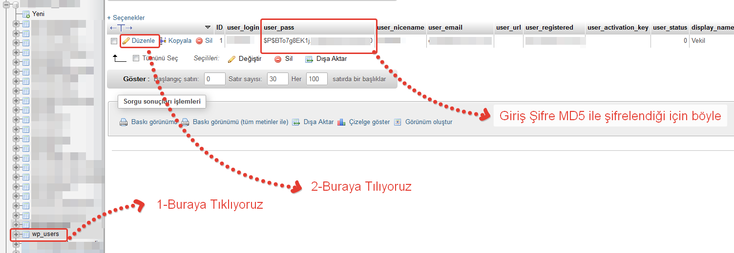 phpMyAdmin_Wordpress_Sifre_Degistir