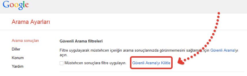 Google_Guvenli_Arama_Ayarlari